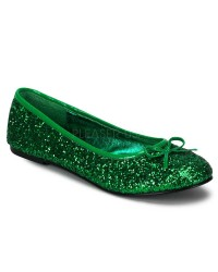Star Green Glittered Ballet Flat