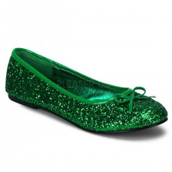 Star Green Glittered Ballet Flat Mild to Wild Shoes  Shoes for Women from Flats to Extreme High Heels & Platforms