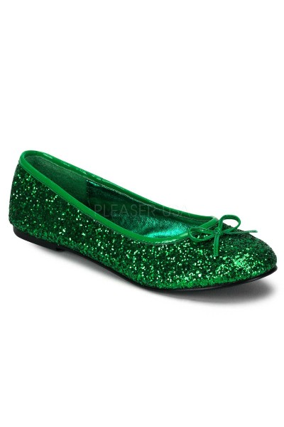 Star Green Glittered Ballet Flat at Mild to Wild Womens Shoes,  Shoes for Women from Flats to Extreme High Heels & Platforms