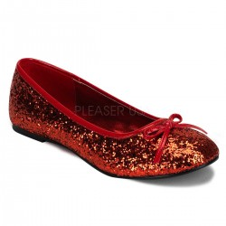 Star Red Glittered Ballet Flat Mild to Wild Shoes  Shoes for Women from Flats to Extreme High Heels & Platforms