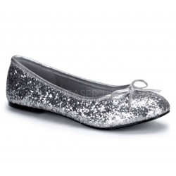 Star Silver Glittered Ballet Flat Mild to Wild Shoes  Shoes for Women from Flats to Extreme High Heels & Platforms