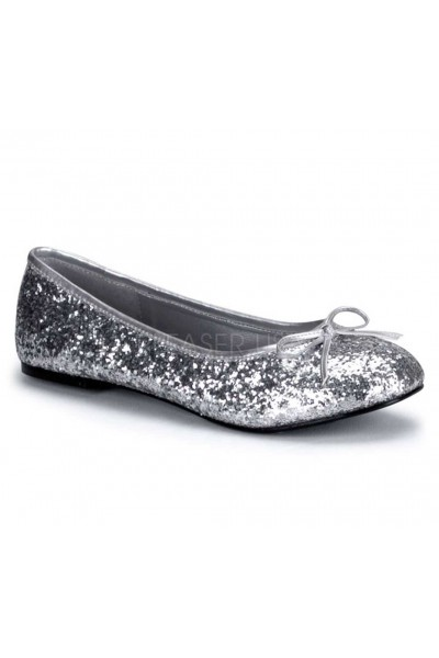 Star Silver Glittered Ballet Flat at Mild to Wild Womens Shoes,  Shoes for Women from Flats to Extreme High Heels & Platforms