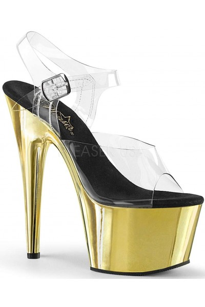 Gold Chrome Platform Clear Strap Platform Sandal at Mild to Wild Womens Shoes,  Shoes for Women from Flats to Extreme High Heels & Platforms