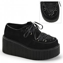 Black Faux Suede Studded Womens Creeper