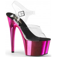Hot Pink Chrome Platform Clear Strap Platform Sandal