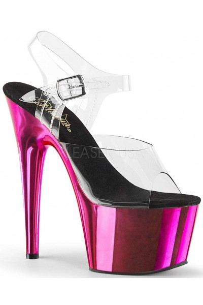 Hot Pink Chrome Platform Clear Strap Platform Sandal at Mild to Wild Womens Shoes,  Shoes for Women from Flats to Extreme High Heels & Platforms