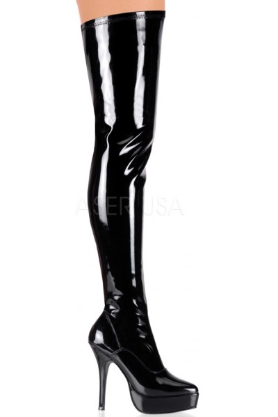 Black Indulge Faux Patent Leather Stiletto Heel Boot at Mild to Wild Womens Shoes,  Shoes for Women from Flats to Extreme High Heels & Platforms