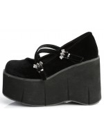Kera Black Velvet Bat Buckled Platform Pump at Mild to Wild Womens Shoes,  Shoes for Women from Flats to Extreme High Heels & Platforms