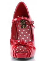 Cutie Pie Red Peep Toe Mary Jane Pin Up Pumps at Mild to Wild Womens Shoes,  Shoes for Women from Flats to Extreme High Heels & Platforms