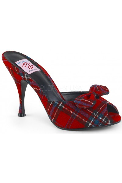 Monroe Red Plaid Slide with Bow at Mild to Wild Womens Shoes,  Shoes for Women from Flats to Extreme High Heels & Platforms