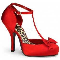 Red Satin T-Strap Cutie Pie Pump Mild to Wild Womens Shoes  Shoes for Women from Flats to Extreme High Heels & Platforms