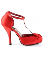Red Satin T-Strap Cutie Pie Pump at Mild to Wild Womens Shoes,  Shoes for Women from Flats to Extreme High Heels & Platforms