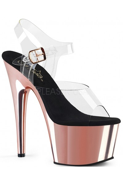 Rose Gold Chrome Platform Clear Strap Platform Sandal at Mild to Wild Womens Shoes,  Shoes for Women from Flats to Extreme High Heels & Platforms
