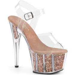 Rose Gold Glitter Filled Clear Platform Adore Sandals Mild to Wild Womens Shoes  Shoes for Women from Flats to Extreme High Heels & Platforms