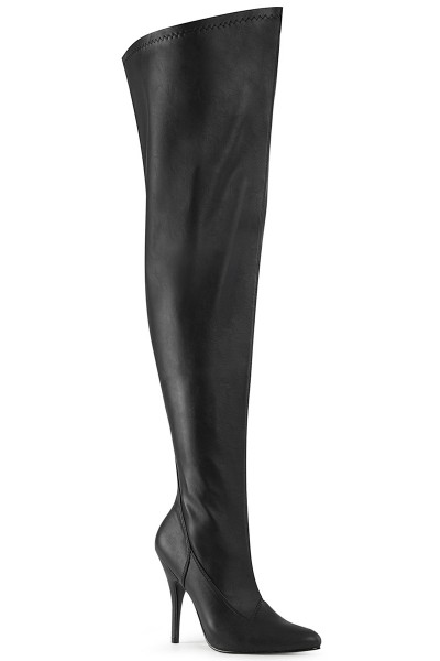 Seduce Black Faux Leather Wide Calf Thigh High Boots