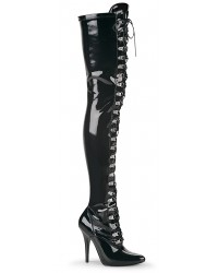 Seduce Black Patent Lace Up Thigh High Boots