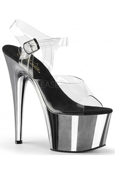 Silver Chrome Platform Clear Strap Platform Sandal at Mild to Wild Shoes,  Shoes for Women from Flats to Extreme High Heels & Platforms