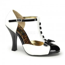Button T-Strap White and Black Pump