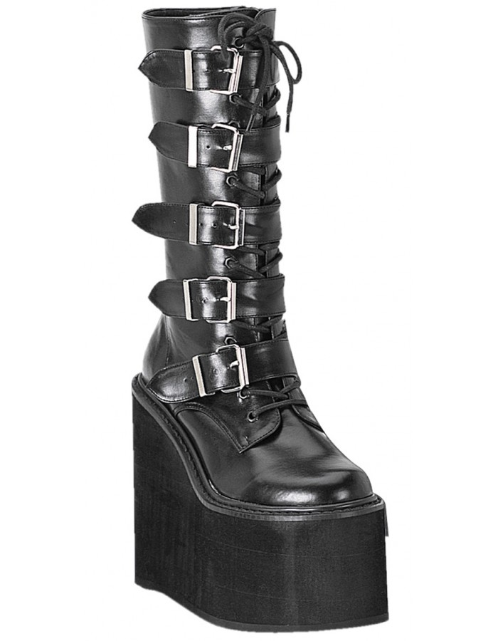Womens New Fashion Patent Leather Wedge Heel Shiny Platform Mid Calf Boots Shoes