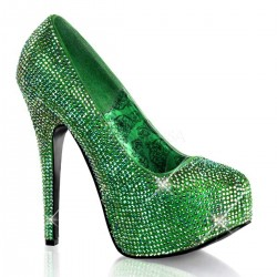 Teeze Green Iridescent Rhinestone Platform Pump Mild to Wild Womens Shoes  Shoes for Women from Flats to Extreme High Heels & Platforms