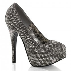 Teeze Pewter Rhinestone Platform Pump Mild to Wild Womens Shoes  Shoes for Women from Flats to Extreme High Heels & Platforms