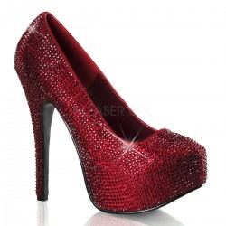 Teeze Ruby Red Rhinestone Platform Pump Mild to Wild Shoes  Shoes for Women from Flats to Extreme High Heels & Platforms
