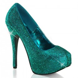 Teeze Turquoise Rhinestone Platform Pump Mild to Wild Shoes  Shoes for Women from Flats to Extreme High Heels & Platforms