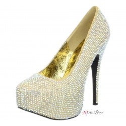 Teeze Gold Iridescent Rhinestone Platform Pump Mild to Wild Womens Shoes  Shoes for Women from Flats to Extreme High Heels & Platforms