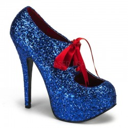 Teeze Blue Glittered Platform Pump Mild to Wild Womens Shoes  Shoes for Women from Flats to Extreme High Heels & Platforms