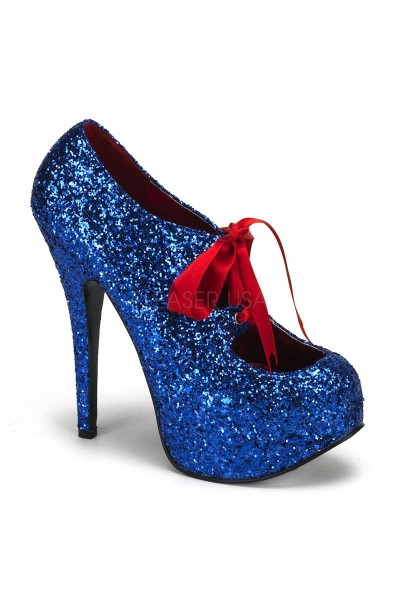 Teeze Blue Glittered Platform Pump at Mild to Wild Womens Shoes,  Shoes for Women from Flats to Extreme High Heels & Platforms