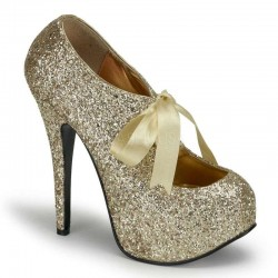 Teeze Gold Glittered Platform Pump Mild to Wild Womens Shoes  Shoes for Women from Flats to Extreme High Heels & Platforms