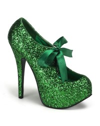 Teeze Green Glittered Platform Pump