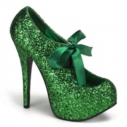 Teeze Green Glittered Platform Pump Mild to Wild Womens Shoes  Shoes for Women from Flats to Extreme High Heels & Platforms