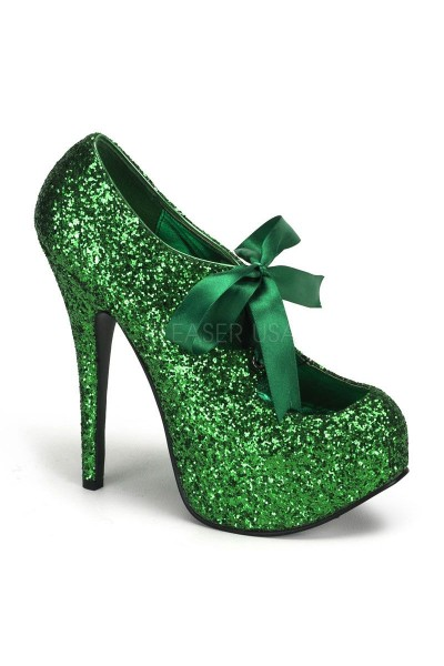 Teeze Green Glittered Platform Pump at Mild to Wild Womens Shoes,  Shoes for Women from Flats to Extreme High Heels & Platforms