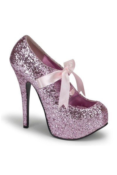 Teeze Baby Pink Glittered Platform Pump at Mild to Wild Womens Shoes,  Shoes for Women from Flats to Extreme High Heels & Platforms