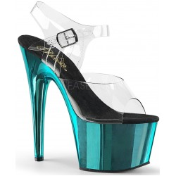 Turquoise Chrome Platform Clear Strap Platform Sandal Mild to Wild Womens Shoes  Shoes for Women from Flats to Extreme High Heels & Platforms