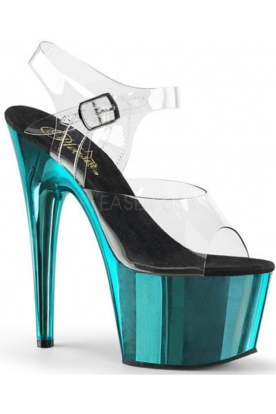 Turquoise Chrome Platform Clear Strap Platform Sandal at Mild to Wild Womens Shoes,  Shoes for Women from Flats to Extreme High Heels & Platforms