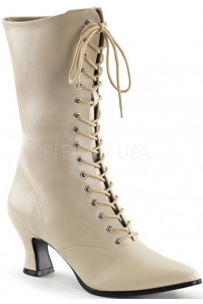 Cream Victorian Ankle Boot at Mild to Wild Womens Shoes,  Shoes for Women from Flats to Extreme High Heels & Platforms
