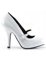Cutie Pie White Mary Jane Pin Up Pumps at Mild to Wild Womens Shoes,  Shoes for Women from Flats to Extreme High Heels & Platforms