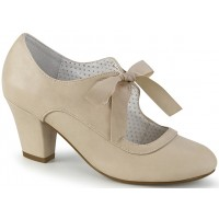 Wiggle Vintage Style Mary Jane Shoe in Beige