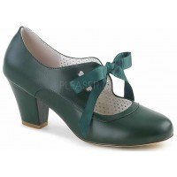 Wiggle Vintage Style Mary Jane Shoe in Forest Green