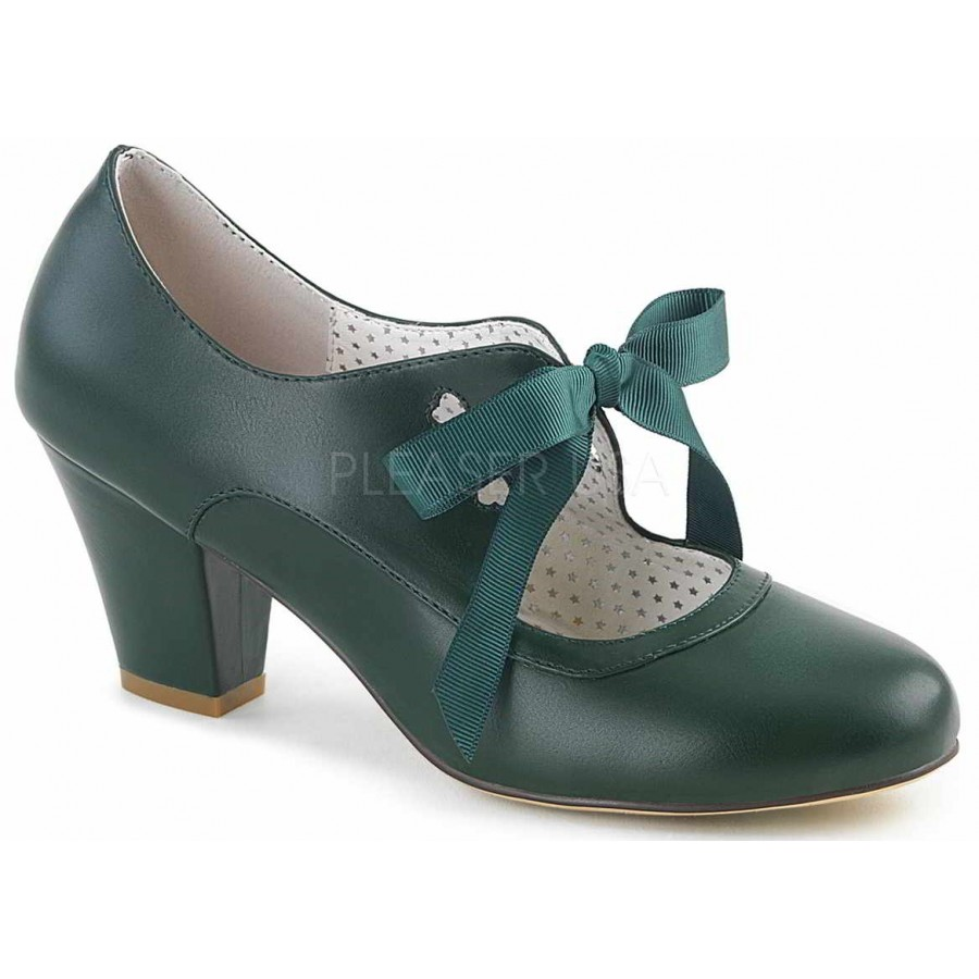 Forest Green Shoes Low Heel
