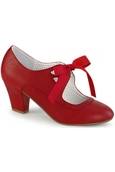 Wiggle Vintage Style Mary Jane Shoe in Red Faux Leather at Mild to Wild Womens Shoes,  Shoes for Women from Flats to Extreme High Heels & Platforms