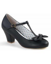Wiggle Vintage Style T-Strap Shoe in Black